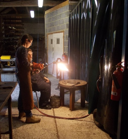 Tempering the metal with a torch