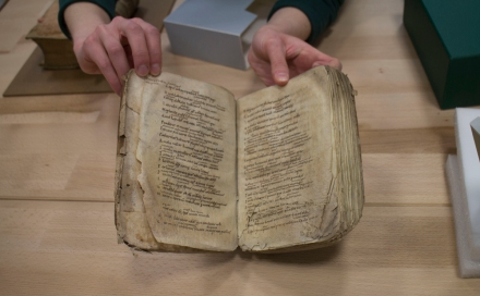 A books student shows us the manuscript she's focusing on for her thesis.